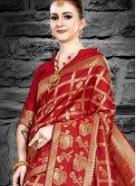 Maroon Weaving Art Silk Classic Designer Saree