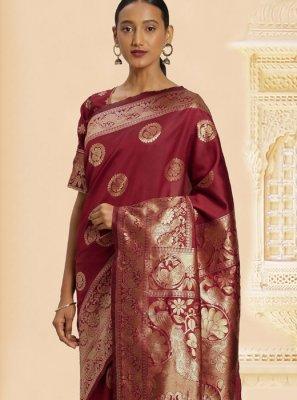Maroon Weaving Festival Designer Traditional Saree