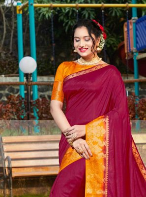 Maroon Weaving Silk Saree