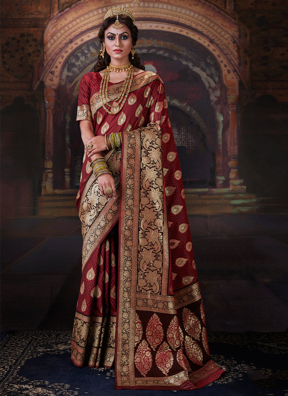 Maroon Weaving Trendy Saree