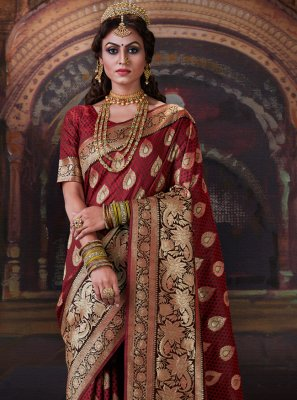 Maroon Weaving Trendy Saree