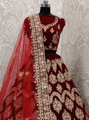 Maroon Wedding A Line Lehenga Choli