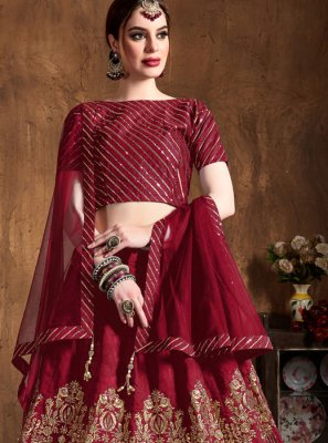 Maroon Wedding Art Silk Lehenga Choli