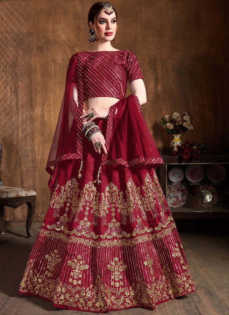 Maroon Wedding Art Silk Lehenga Choli