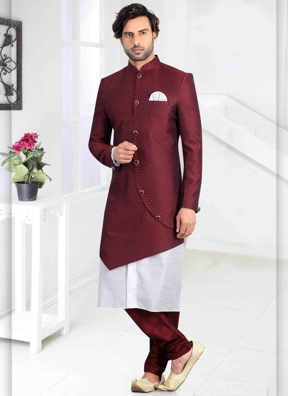 Maroon Wedding Indo Western