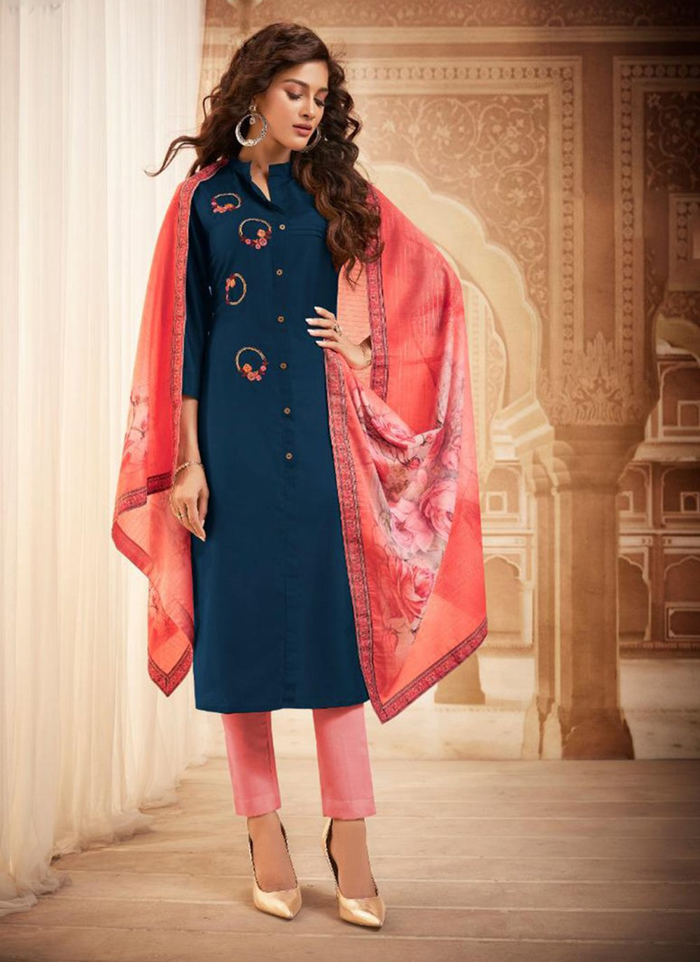Maslin Silk Blue Bollywood Salwar Kameez