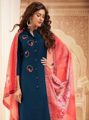 Maslin Silk Blue Bollywood Salwar Kameez
