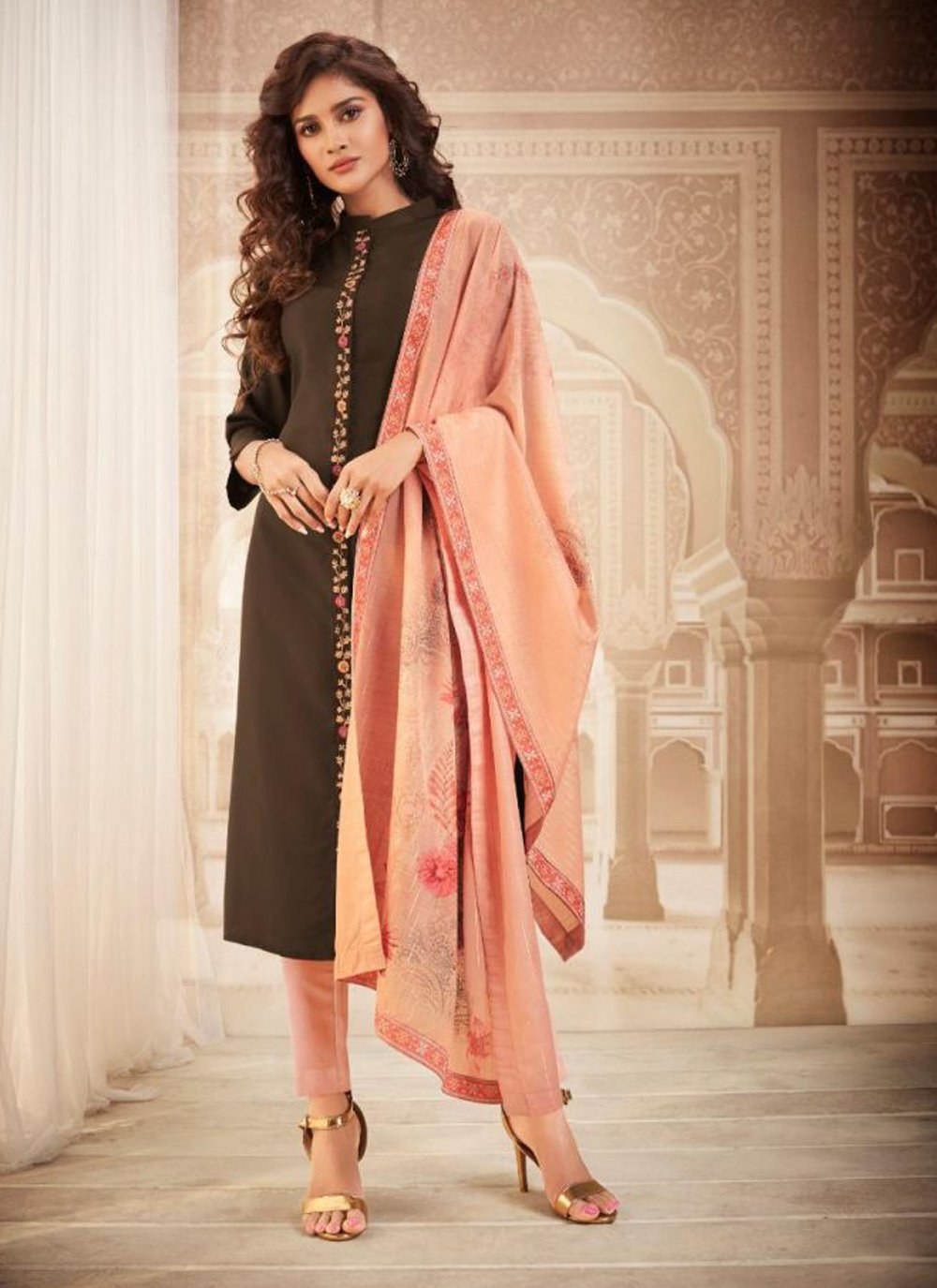 Maslin Silk Brown Embroidered Bollywood Salwar Kameez