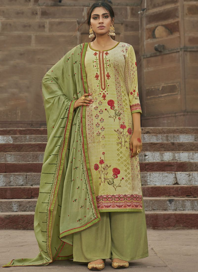 Maslin Silk Embroidered Designer Suit in Green