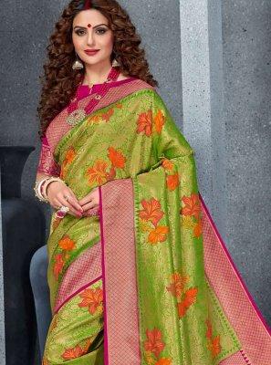 Meenakari Silk Designer Saree in Green