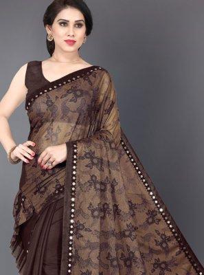 Mirror Brown Lycra Trendy Saree
