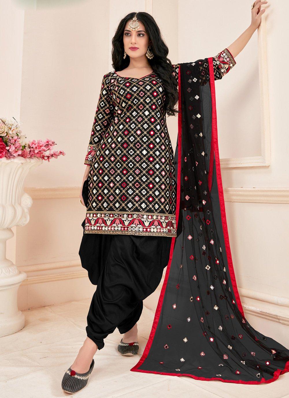 Mirror Cotton Designer Suit in Black