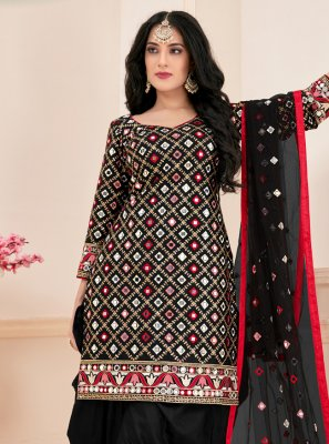 Mirror Cotton Designer Suit in Black