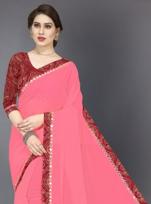 Mirror Pink Designer Saree