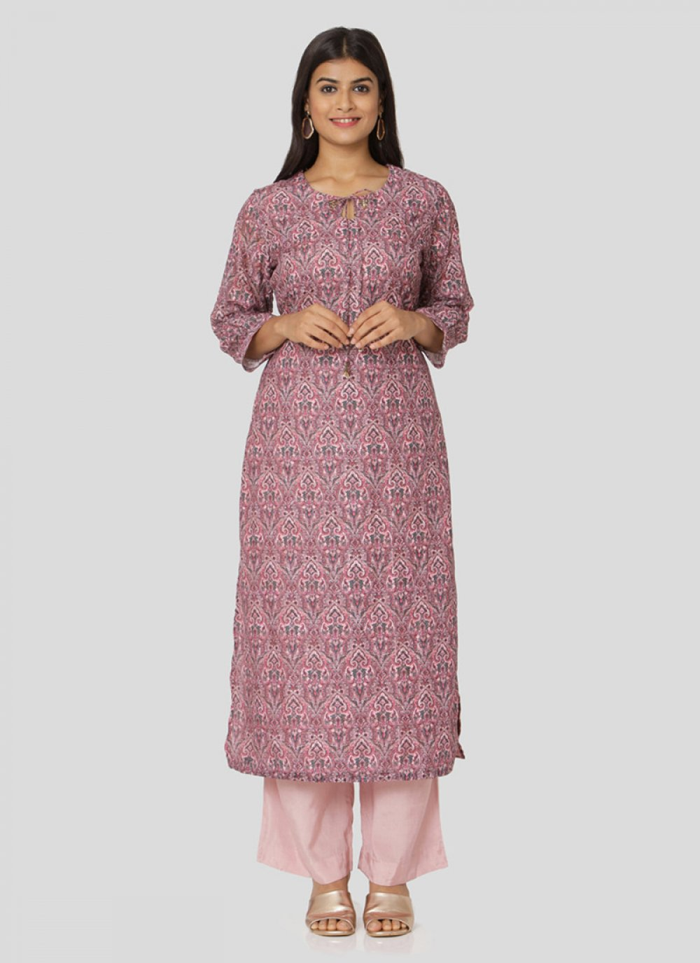 Multi Chanderi Salwar Kameez in Multi Colour