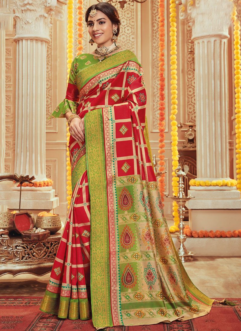 Multi Colour Aari Art Silk Traditional Designer Saree
