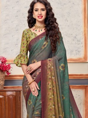Multi Colour Abstract Print Faux Crepe Printed Saree