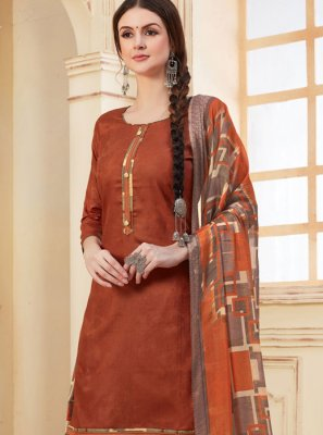 Multi Colour Abstract Print Festival Patiala Suit
