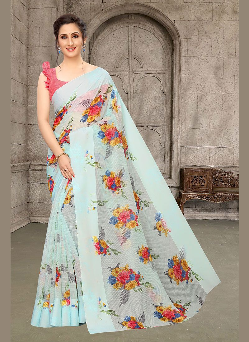 Multi Colour Abstract Print Festival Printed Saree