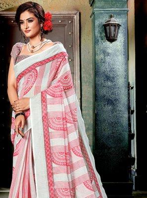 Multi Colour and Off White Printed Cotton Casual Saree