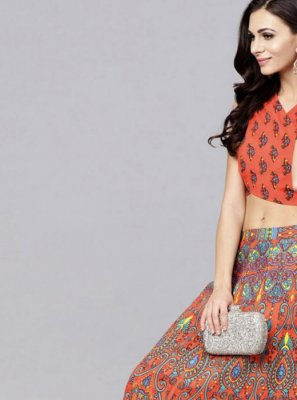 Multi Colour and Orange Viscose Readymade Lehenga Choli