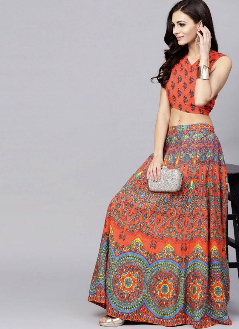 Multi Colour and Orange Viscose Readymade Lehenga Choli