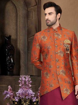 Multi Colour Art Banarasi Silk Engagement Dhoti Kurta