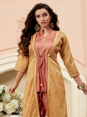 Multi Colour Art Silk Ceremonial Casual Kurti
