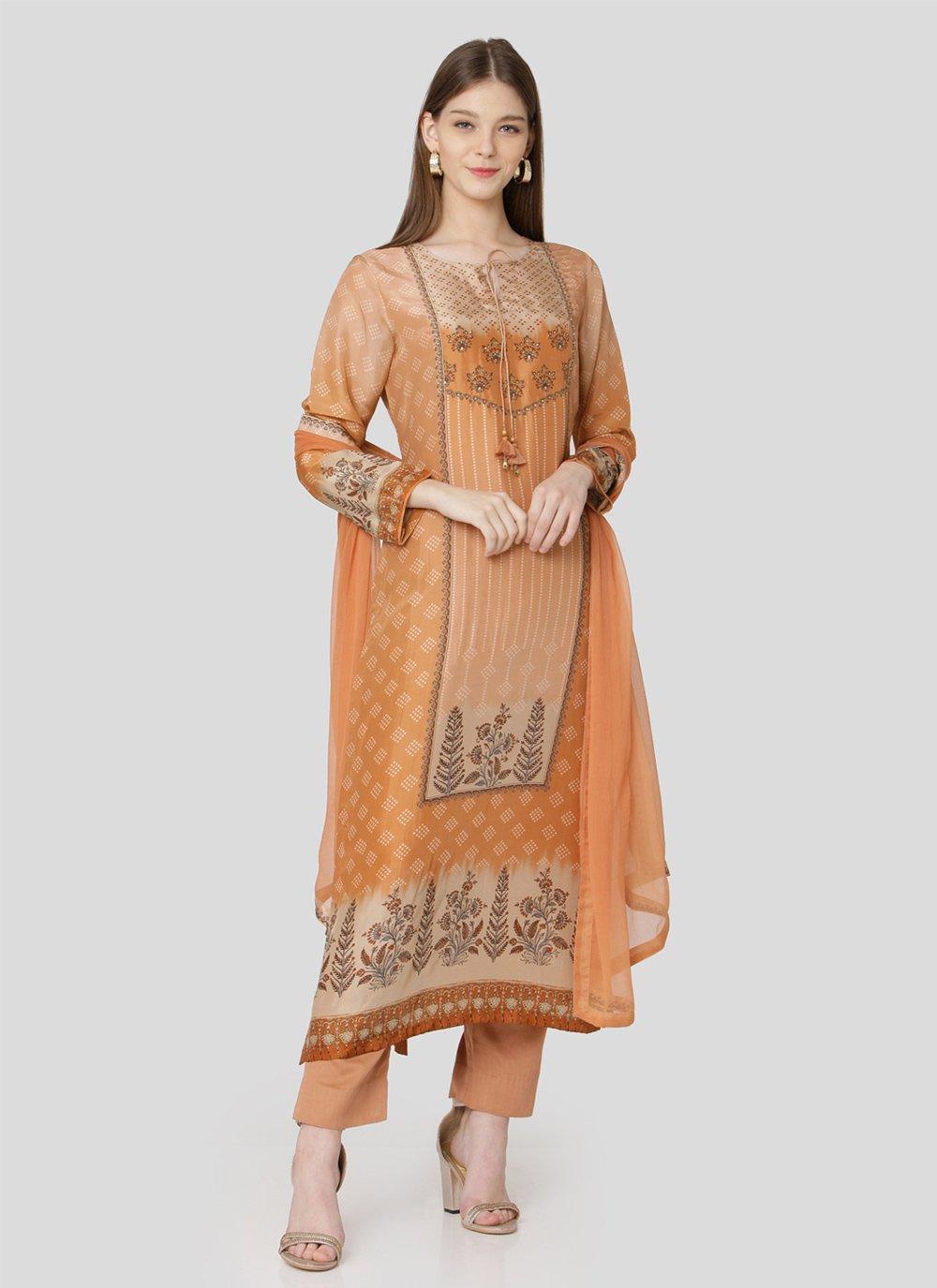 Multi Colour Art Silk Designer Pakistani Suit