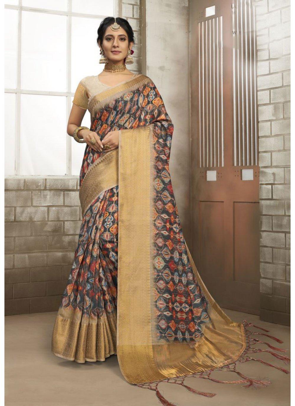 Multi Colour Art Silk Party Classic Designer Saree