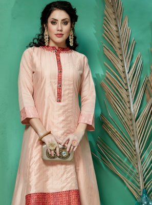 Multi Colour Art Silk Party Party Wear Kurti
