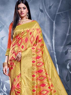 Multi Colour Banarasi Silk Classic Saree