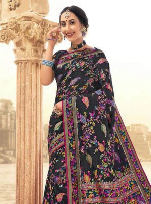Multi Colour Banarasi Silk Digital Print Classic Saree