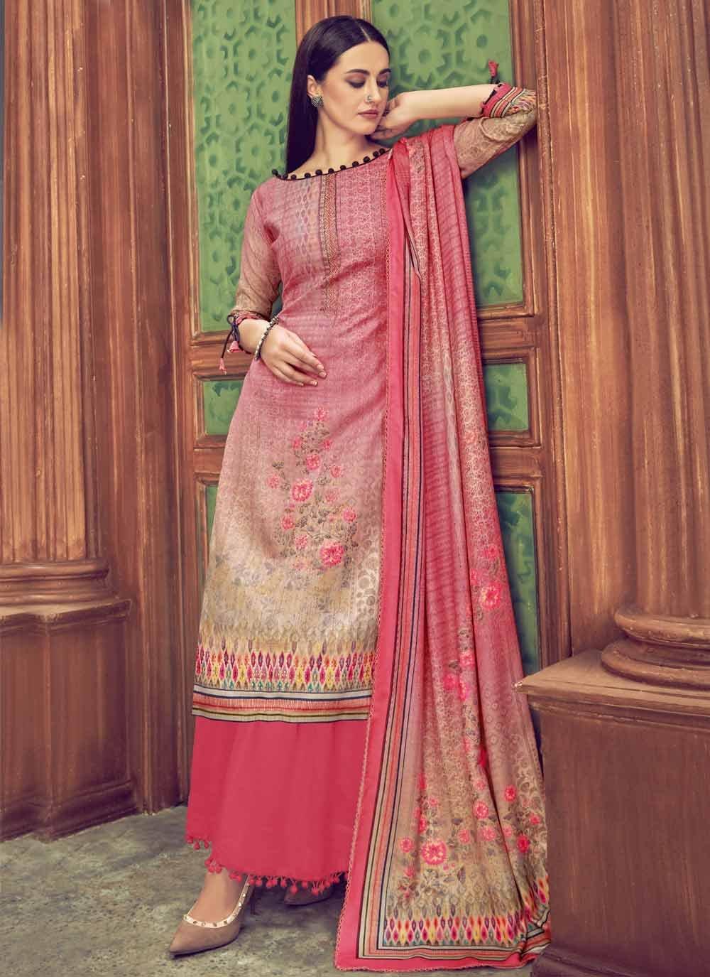 Multi Colour Casual Palazzo Salwar Suit