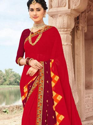 Multi Colour Ceremonial Faux Georgette Printed Saree