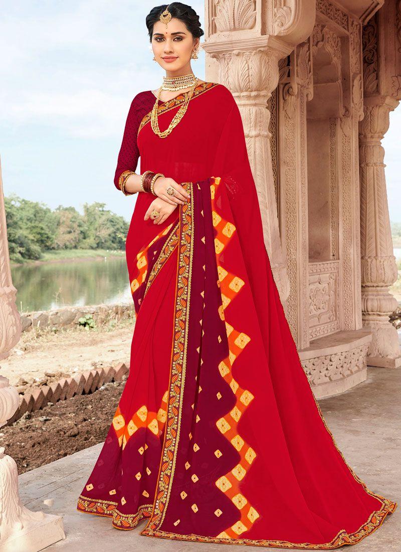 Multi Colour Ceremonial Faux Georgette Printed Saree