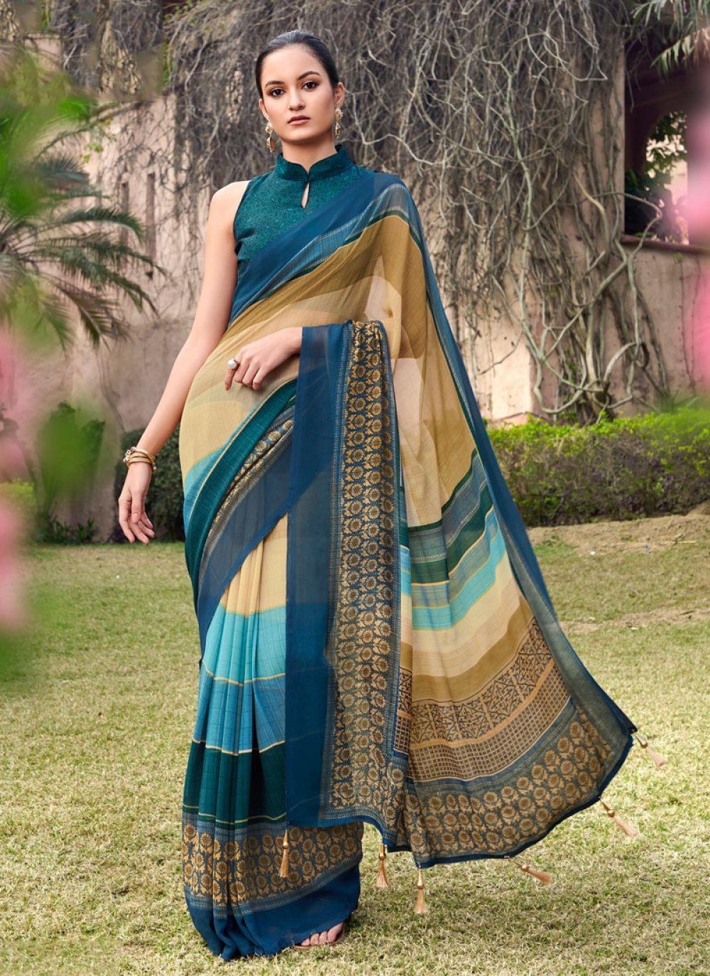 Multi Colour Ceremonial Half N Half  Saree
