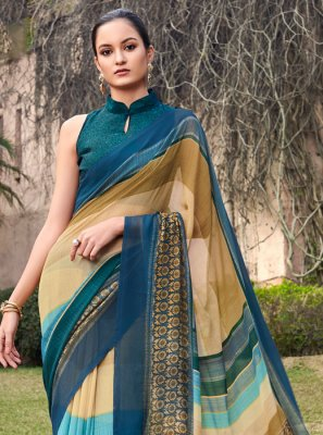 Multi Colour Ceremonial Half N Half  Saree