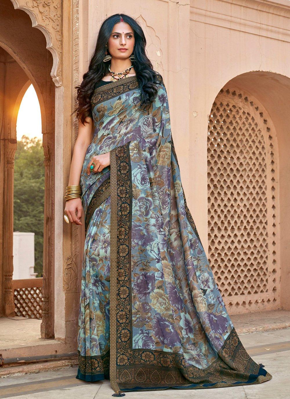 Multi Colour Chanderi Classic Saree