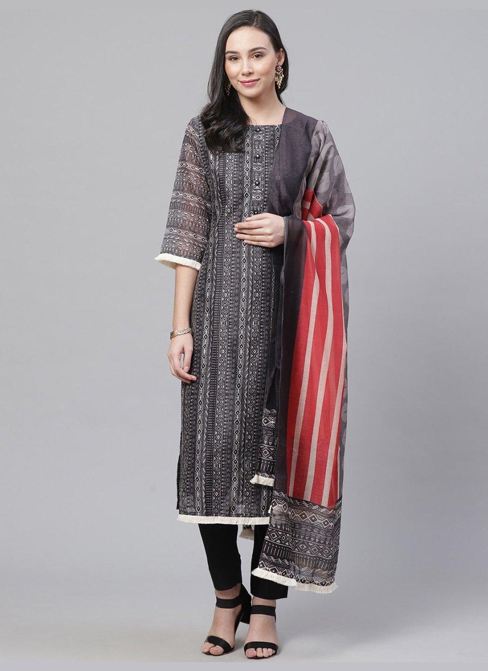 Multi Colour Chanderi Digital Print Straight Salwar Kameez