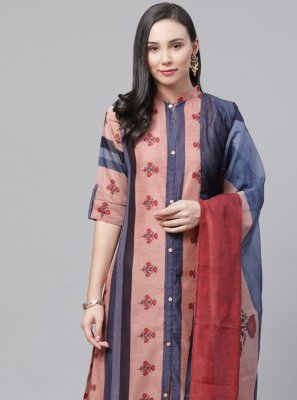 Multi Colour Chanderi Pant Style Suit