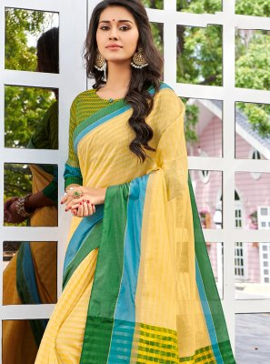 Multi Colour Cotton Designer Saree