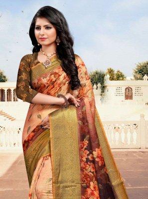 Multi Colour Cotton Digital Print Designer Saree