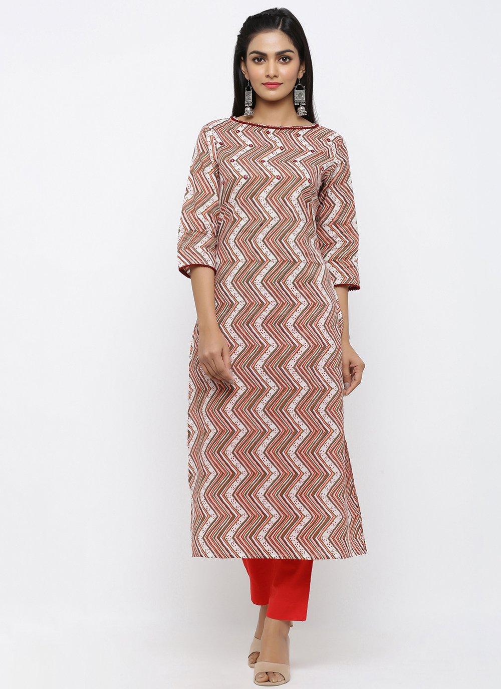 Multi Colour Cotton Engagement Salwar Kameez