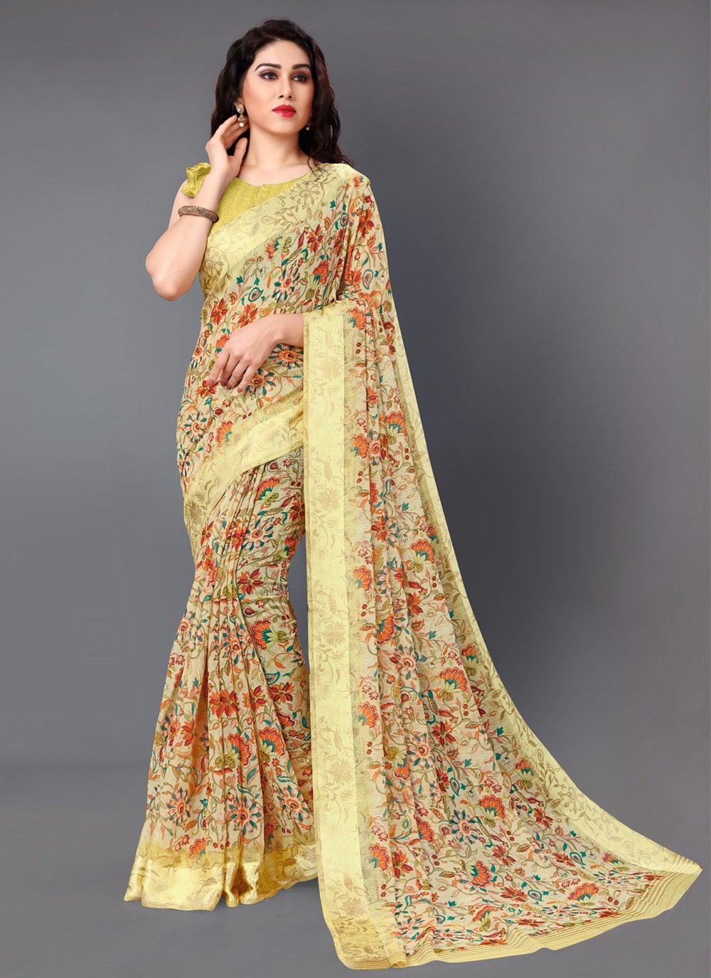 Multi Colour Cotton Floral Print Classic Saree