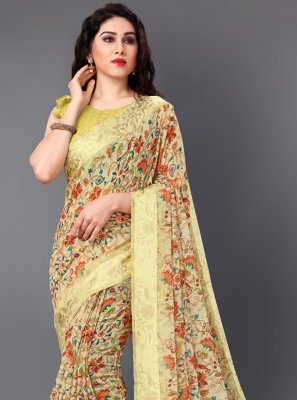 Multi Colour Cotton Floral Print Classic Saree