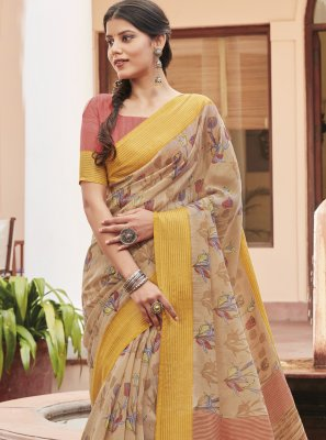 Multi Colour Cotton Silk Print Saree