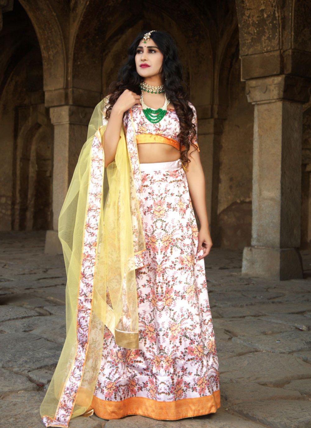 Multi Colour Digital Print Ceremonial Trendy Lehenga Choli
