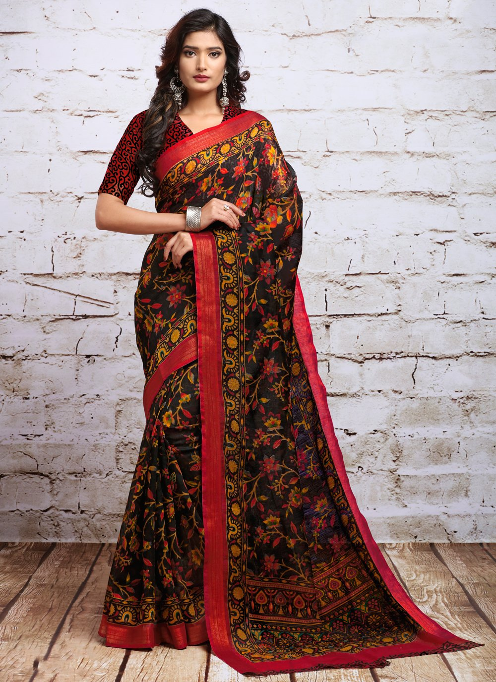 Multi Colour Digital Print Festival Contemporary Saree