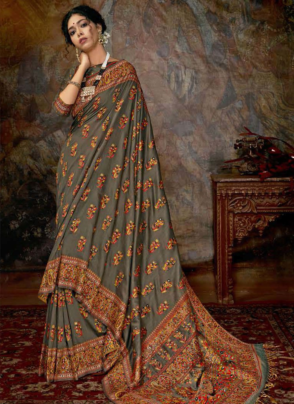 Multi Colour Digital Print Reception Designer Saree